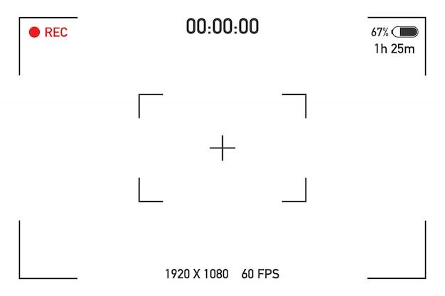 Widok z kamery przeglądający obrazy. wizualne ustawianie ostrości ekranu. ekran nagrywania wideo na przezroczystym.