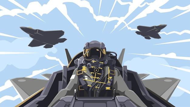 Widok z kokpitu samolotu na pilota. omówienie kokpitu samolot-myśliwiec. zespół akrobacyjny w powietrzu. wojskowy myśliwiec nowej generacji. pilot przyszłości.