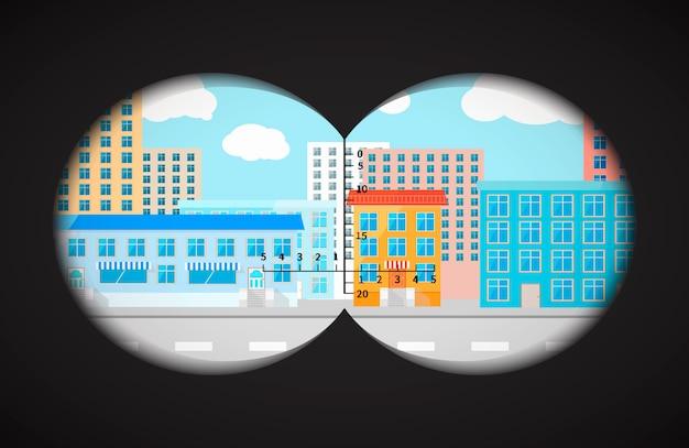 Widok z lornetki na płaskie budynki miasta