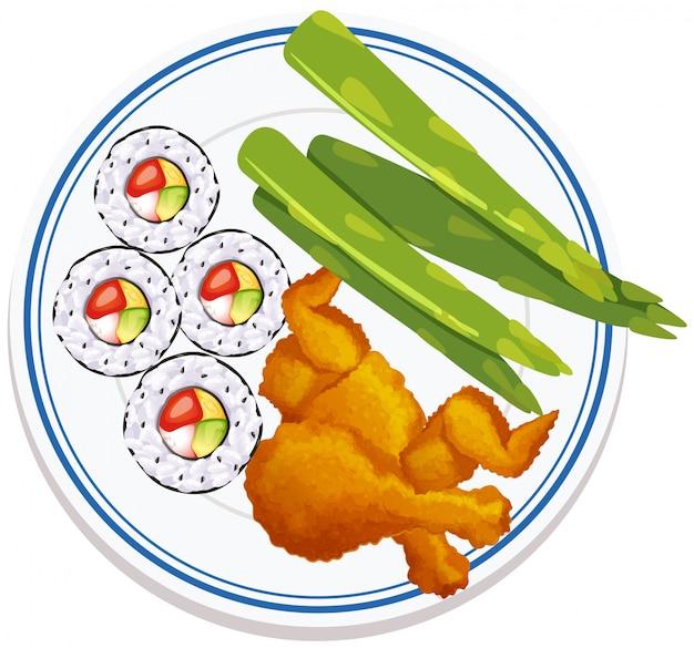 Widok z lotu ptaka na jedzenie na talerzu