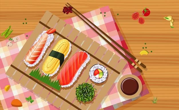 Widok z lotu ptaka sushi