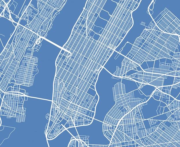 Widok z lotu ptaka usa nowy jork miasto wektorowa mapa uliczna