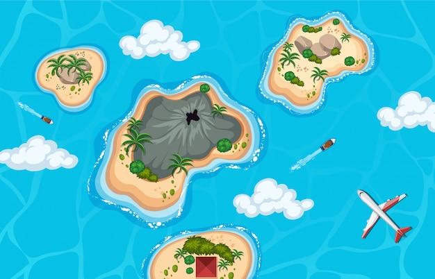 Widok z lotu ptaka wyspy i samolotu