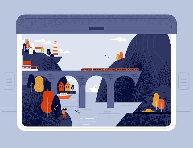 Widok z okna pociągu na nadmorskie miasteczko, morze, latarnię morską, klify i most kolejowy