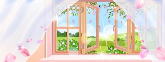 Widok z okna wiejskiego domu na wiosnę, wiejski krajobraz, krzewy kwiatowe, płatki sakury, drewniana rama.
