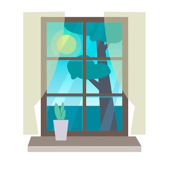 Widok z okna z pokoju widok na naturę z domu doniczka z kwiatami na parapecie