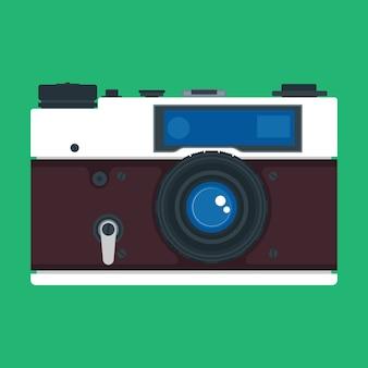 Widok z przodu aparatu obiektyw cyfrowy sprzęt fotograficzny. symbol ostrości ikony. profesjonalny gadżet reportera płaskiego urządzenia vintage szczegółowe zdjęcie