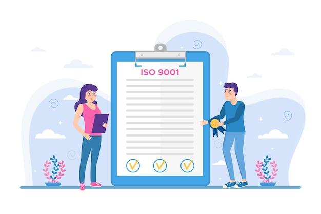 Widok z przodu certyfikacji iso 9001