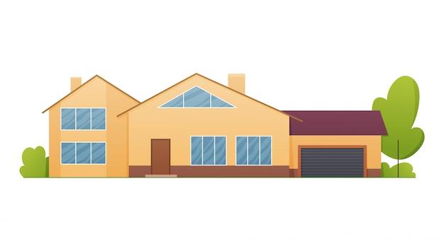 Widok z przodu domu z dachem. fasada domu z drzwiami i oknami. nowoczesny dom w kamienicy. budynek nieruchomości