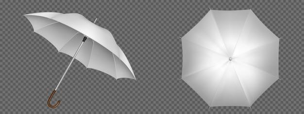 Widok z przodu i z góry na biały parasol. realistyczny szablon pustego parasola z drewnianą rączką, klasycznego akcesorium do ochrony przed deszczem wiosną, jesienią lub porą monsunową