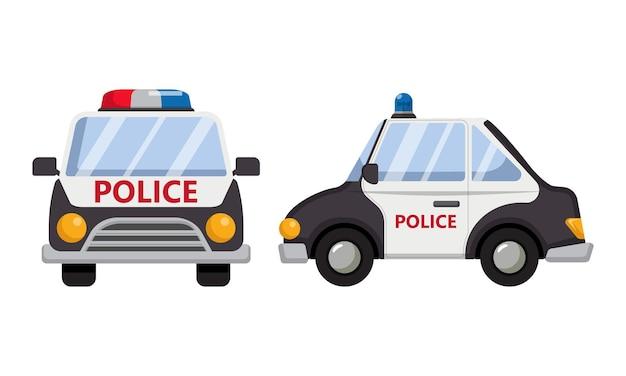 Widok z przodu iz boku samochodu policyjnego. transport w stylu płaski kreskówka na białym tle