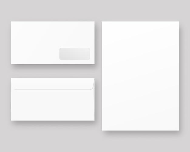 Widok z przodu iz tyłu puste realistyczne zamknięte koperty. koperty z białym papierem. . szablon realistyczna ilustracja.