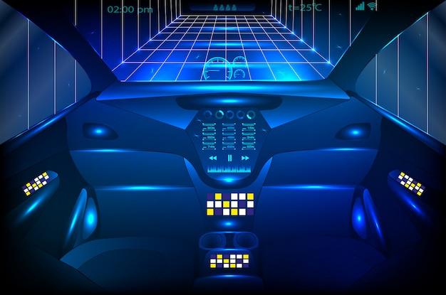 Widok z przodu kokpitu pojazdu i bezprzewodowa sieć komunikacyjna, samochód autonomiczny.