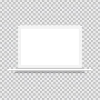 Widok z przodu laptopa na białym tle