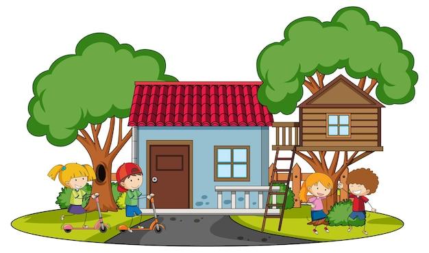 Widok z przodu mini domu z wieloma dziećmi na białym tle