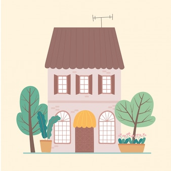 Widok z przodu ogród mieszkalny wielopiętrowy dom