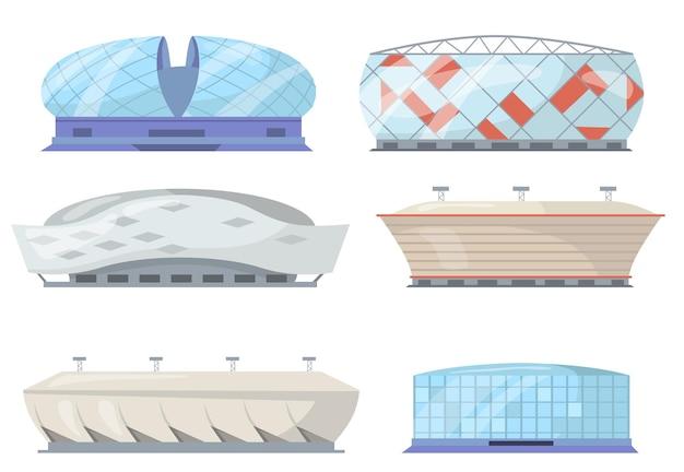 Widok z przodu płaski zestaw stadionów sportowych