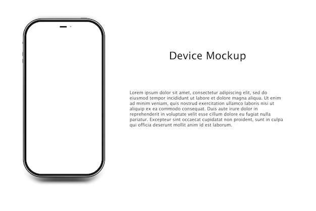 Widok z przodu pusty ekran smartfona makiety.