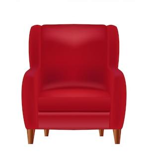 Widok z przodu realistyczny czerwony fotel na białym tle