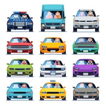 Widok z przodu samochodu. auto samochodowe ludzie mężczyzna kobieta dziecko rodzina miejskich kierowców ruchu pojazdów jazdy samochodami zestaw płaski zestaw