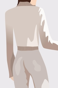 Widok z tyłu brunetka kobieta ubrana w biały sweter i spodnie.