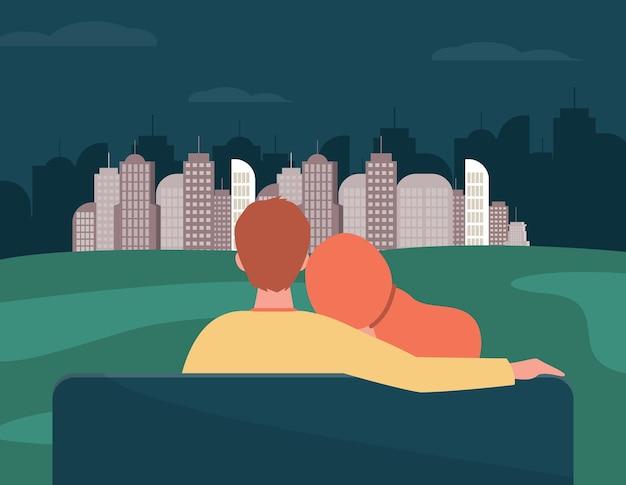 Widok z tyłu para patrząc na nocną panoramę miasta. ławka, dziewczyna, chłopak ilustracja płaski. ilustracja kreskówka