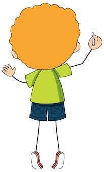 Widok z tyłu postaci z kreskówki chłopca na białym tle