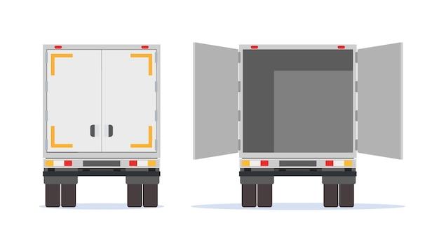 Widok z tyłu przyczepy ciężarówki