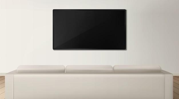 Widok z tyłu sofy i telewizora we wnętrzu salonu