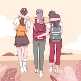 Widok z tyłu trzech dziewczyn z plecakiem, spacery w przyrodzie, postać z kreskówki, płaska ilustracja