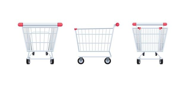 Widok z tyłu, z boku i z przodu koszyka na zakupy, na białym tle na białym tle, ilustracji wektorowych