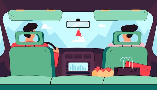 Widok z tyłu z tylnego siedzenia kierowcy i pasażera w płaskiej ilustracji na białym tle samochodu.