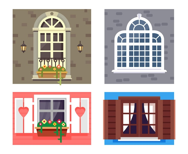 Widok zewnętrzny ram okiennych. okna ustawione w różnych stylach i formach. płaskie ilustracji wektorowych