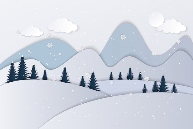 Widoki domu w zimie. papier artystyczny i rękodzieło