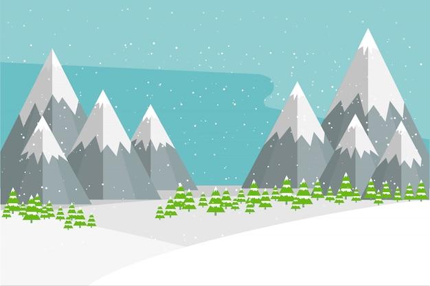 Widoki naturalnego zimowego krajobrazu.