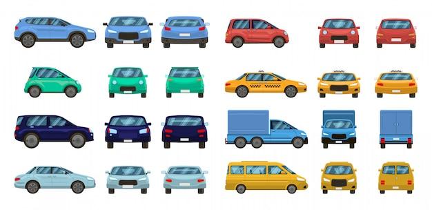 Widoki samochodów. widok samochodu z przodu iz boku z profilu, transport miejski o różnych widokach. zestaw do transportu samochodowego. pojazdy silnikowe góra, tył i przód. pickup, suv i hatchback, taksówka sedan