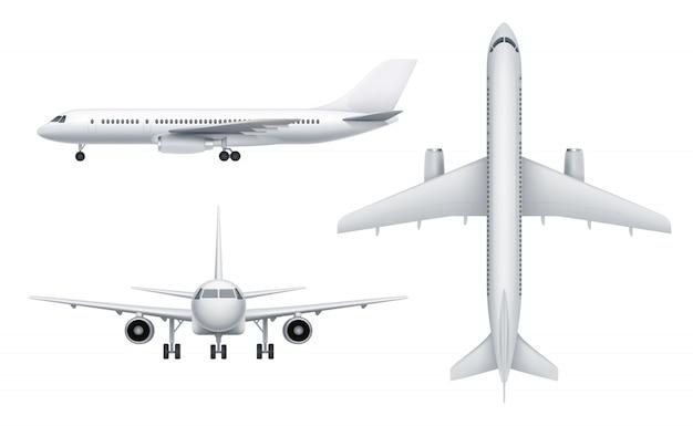 Widoki samolotów cywilnych. biały samolot pasażerski w różnych widokach latać realistyczny transport s