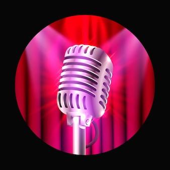 Widowisko muzyczne, mikrofon na scenie czerwonej. ilustracja wektorowa