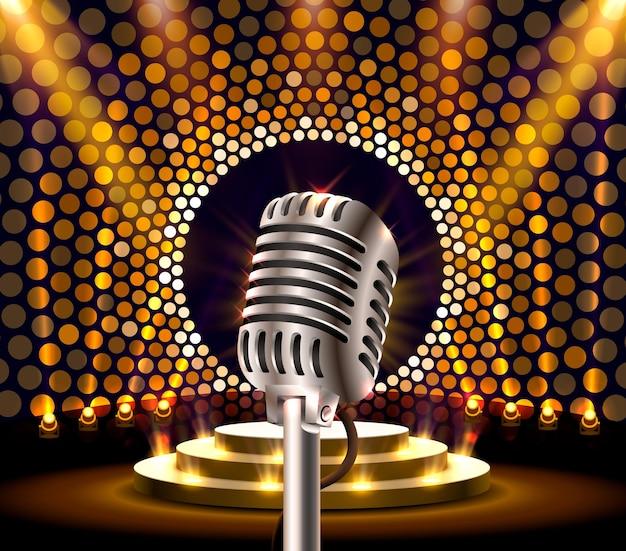 Widowisko muzyczne, mikrofon na złotej scenie. ilustracja wektorowa