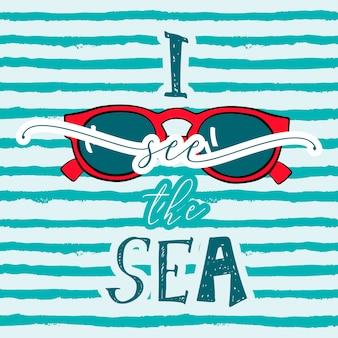 Widzę morze z okularami przeciwsłonecznymi