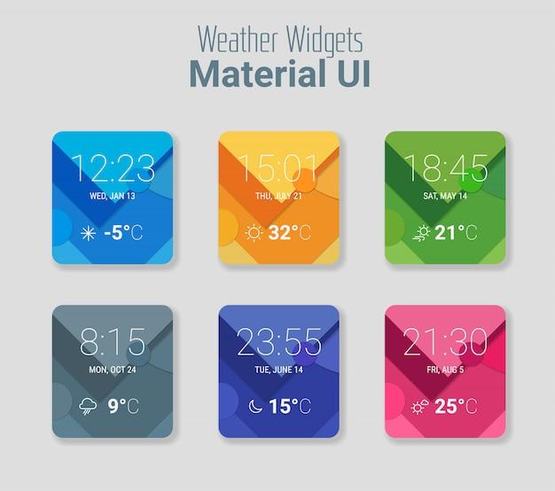 Widżety pogodowe ui i zestaw materiałów ux