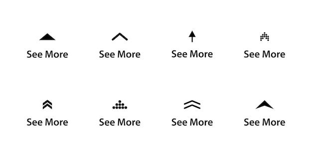 Więcej ikona. zestaw zobacz więcej ikon. piktogram przewijania. strzałka w górę, aby wyświetlić historie w mediach społecznościowych, bloger projektowy, piktogram przewijania. przycisk przesuwania historii. ikony przesuwania w górę