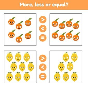 Więcej, mniej lub równo. gra edukacyjna matematyka dla dzieci w wieku przedszkolnym i szkolnym. fuits. cytryny i pomarańcze.