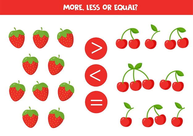 Więcej, mniej lub równo z truskawkami i wiśniami z kreskówek. gra porównawcza dla dzieci.