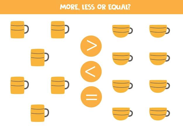 Więcej, mniej, równa się z kubkami i filiżankami kuchennymi. porównanie matematyczne.