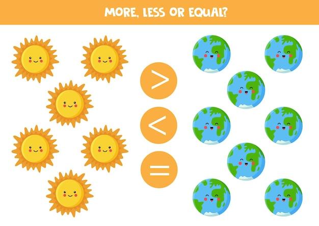 Więcej, mniej, równe z kreskówkowym słońcem i ziemią. gra matematyczna.