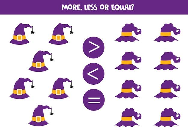 Więcej, mniej, równo z kapeluszami na halloween. porównanie matematyczne.