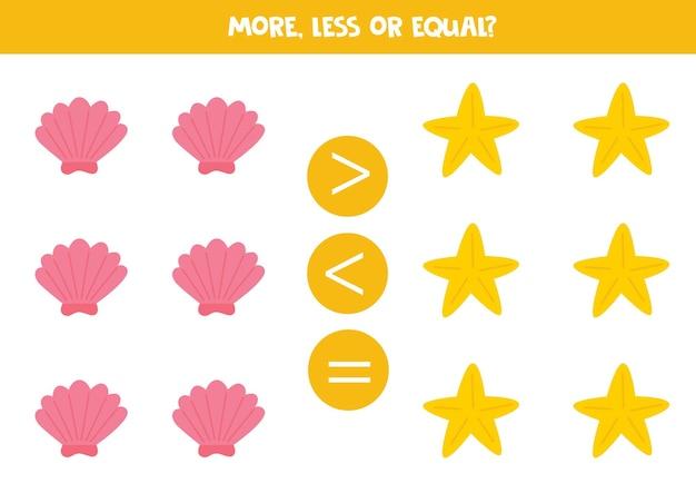 Więcej, mniej, równo z rozgwiazdą i muszlą. porównanie matematyczne.