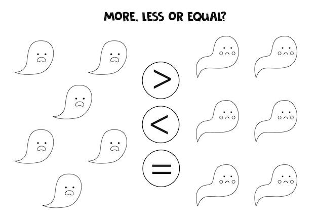 Więcej, mniej, równo z uroczymi duchami z kreskówek. porównanie matematyczne.