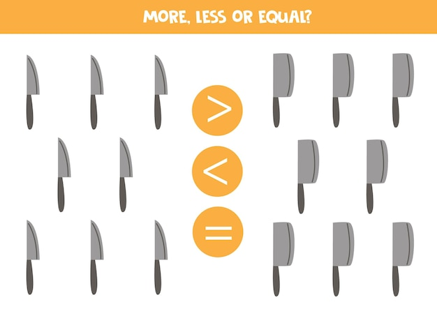 Więcej, mniej, równy nóż i mięso sprytne. porównanie matematyczne.